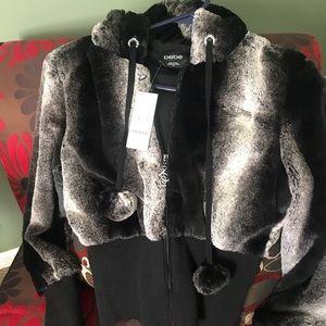 BeBe faux fur zipper dressy hoodie. NWT